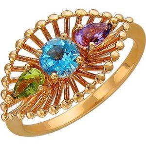 Кольцо с топазом, хризолитом и аметистом из красного золота (арт. ж-7853к)