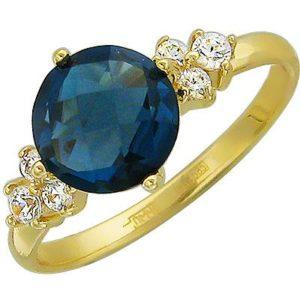 Кольцо с топазом, фианитами из желтого золота (арт. ж-8718к)