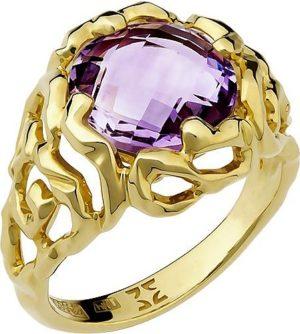 Кольцо с 1 аметистом из жёлтого золота (арт.ж-9111к)