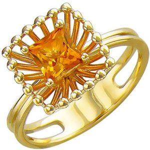 Кольцо с цитрином из желтого золота (арт.ж-8607к)