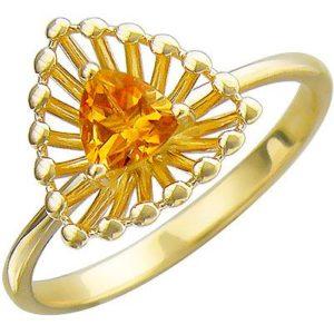 Кольцо с цитрином из желтого золота (арт. ж-8635к)