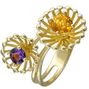 Кольцо с аметистом, цитрином из желтого золота (арт. ж-8606к)