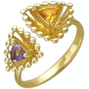 Кольцо безразмерное с аметистом, цитрином из желтого золота (арт. ж-8612к)
