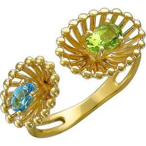 Кольцо с хризолитом и топазом из жёлтого золота (арт. ж-8106к)