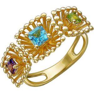 Кольцо с топазом, хризолитом и аметистом из жёлтого золота (арт. ж-8086к)