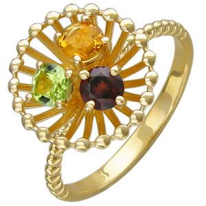 Кольцо с гранатом, хризолитом, цитрином из желтого золота (арт. ж-8634к)