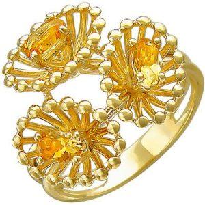 Кольцо с цитринами из желтого золота (арт. ж-8611к)