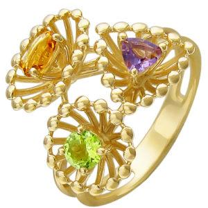Кольцо с аметистом, хризолитом, цитрином из желтого золота (ж-8631к)