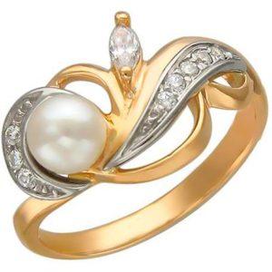 Кольцо с жемчугом и фианитами из комбинированного золота (ж-14к)