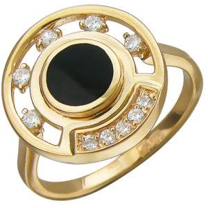Кольцо с ониксом, фианитами из красного золота (арт. ж-8448к)