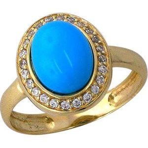 Кольцо с бирюзой и фианитами из жёлтого золота (арт. ж-7895к)