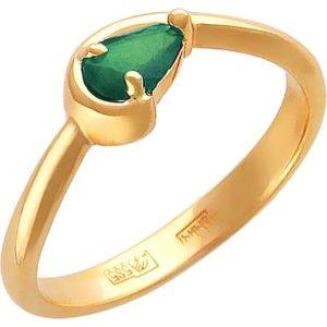 Кольцо с 1 изумрудом из красного золота (арт. ж-8044к)