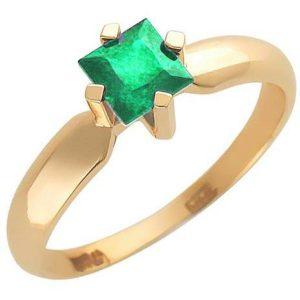 Кольцо с 1 изумрудом из красного золота (арт. ж-8059к)