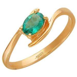 Кольцо с 1 изумрудом из красного золота (арт. ж-7893к)
