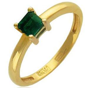 Кольцо с 1 изумрудом из комбинированного золота 750 пробы (арт. ж-8121к)