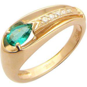 Кольцо с 5 бриллиантами, изумрудом из красного золота (арт. ж-7886к)