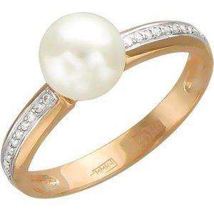 Кольцо с жемчугом и бриллиантами из красного золота (арт. ж-8051к)