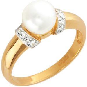 Кольцо с 12 бриллиантами, 1 жемчугом из красного золота (арт. ж-7801к)