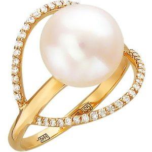 Кольцо с бриллиантами, жемчугом из красного золота (арт. ж-7823к)