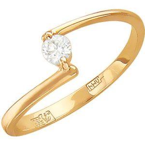 Кольцо с бриллиантом из красного золота (арт. ж-7822к)