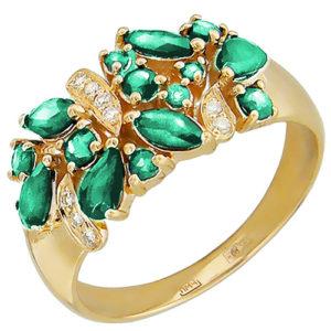 Кольцо с бриллиантами, изумрудами из красного золота (арт. ж-8628к)