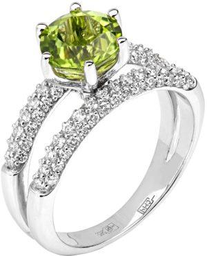 Кольцо с хризолитом и бриллиантами из белого золота (арт. ж-7843к)
