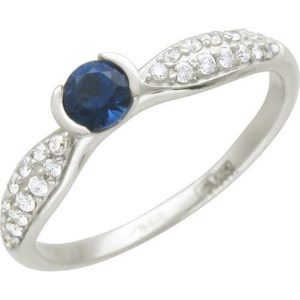 Кольцо с 28 бриллиантами, 1 сапфиром из белого золота (арт. ж-9743к)