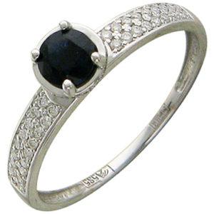 Кольцо с 61 бриллиантами, 1 сапфиром из белого золота (арт.ж-8664к)