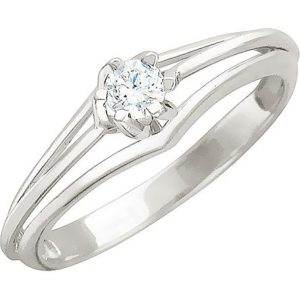 Кольцо с 1 бриллиантом из белого золота (арт. ж-7769к )