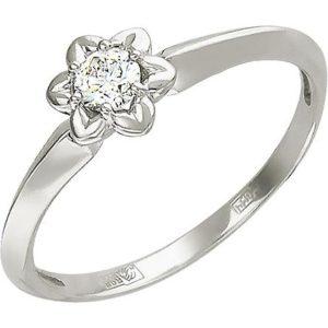 Кольцо с бриллиантом из белого золота (арт. ж-7785к)