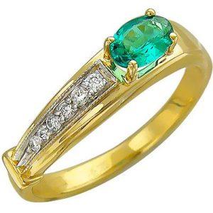 Кольцо с бриллиантами, изумрудом из желтого золота (арт. ж-8598к)
