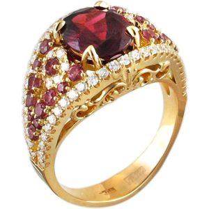 Кольцо с гранатами, бриллиантами и родолитами из жёлтого золота 750 пробы (арт. ж-8102к