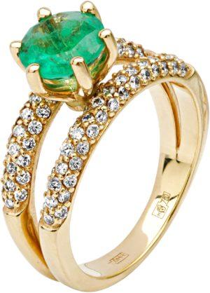 Кольцо с бриллиантами, изумрудом из желтого золота 750 пробы (арт. ж-8274к )