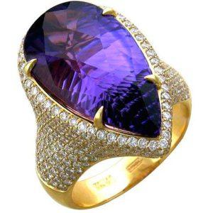 Кольцо с аметистом и бриллиантами из жёлтого золота 750 пробы (арт. ж-8052к)