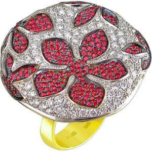 Кольцо Цветы с бриллиантами и рубинами из жёлтого золота 750 пробы (арт. ж-7790к)