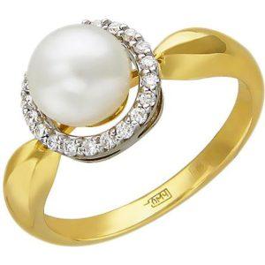 Кольцо с бриллиантами, жемчугом из комбинированного золота (арт. ж-13к)