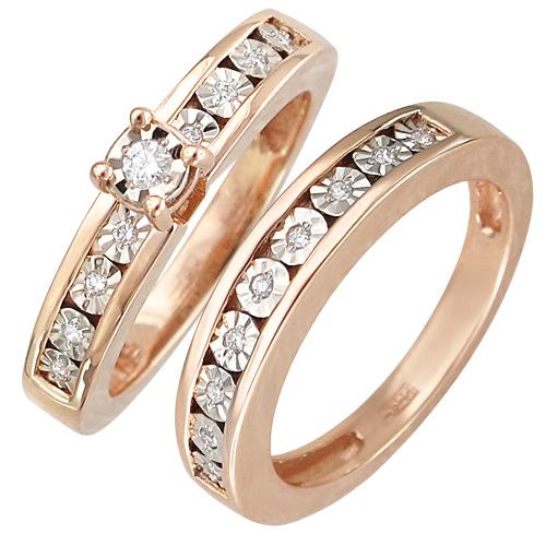 Кольцо с бриллиантами из комбинированного золота (арт. ж-8447к)