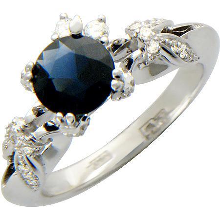 Незаурядное кольцо с 33 бриллиантами, 1 сапфиром из белого золота 750 пробы (арт.ж-8472к)