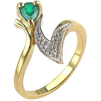 Кольцо с 8 бриллиантами, изумрудом из комбинированного золота 750 пробы (арт.ж-8464к)