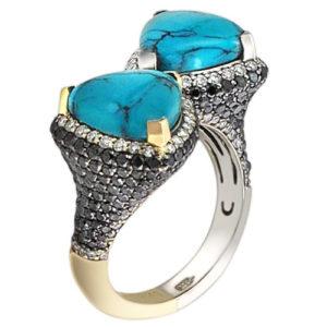 Кольцо с бриллиантами, бирюзой из комбинированного золота 750 пробы (ж-8304к)