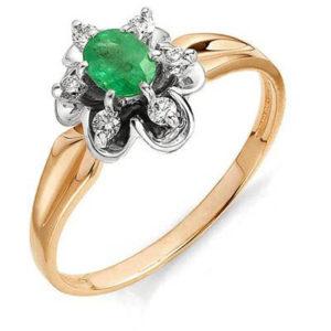 Кольцо Цветок с бриллиантами, изумрудом из красного золота (арт. ж-8517к)