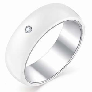 Кольцо с 1 бриллиантом из белого золота (арт. ж-7656к)