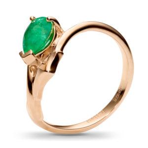 Кольцо с 1 изумрудом из красного золота (арт. ж-9590к)