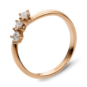 Кольцо с 3 бриллиантами из красного золота (арт. ж-7649к )