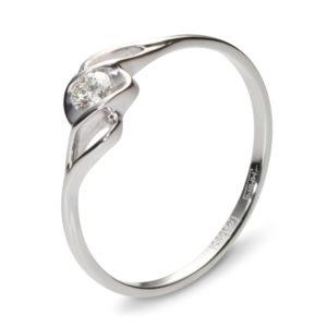 Кольцо с 1 бриллиантом из белого золота (арт. ж-7652к)