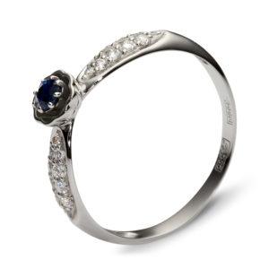 Кольцо с 20 бриллиантами, 1 сапфиром из белого золота (арт.ж-9739к )