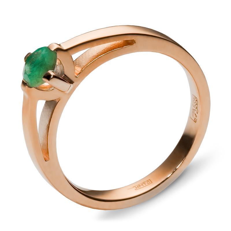 Кольцо с 1 изумрудом из красного золота (арт. ж-8820к)