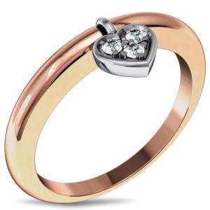 Кольцо с подвеской Сердце с бриллиантами из комбинированного золота (арт. ж-8528к)