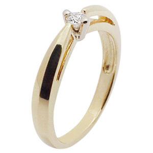 Кольцо с бриллиантом из комбинированного золота (ж-12к)