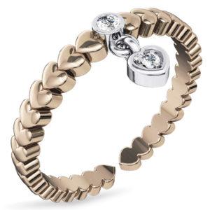 Кольцо Сердце с подвесным бриллиантом из красного золота (арт. ж-8530к)